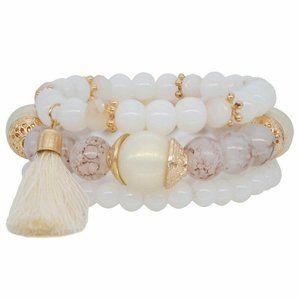 3pcs natural semi precious stone bead bracelets
